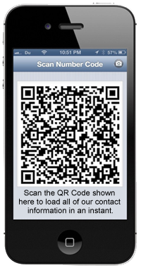 Scan the QR Code shown here to load all of our contact information in an instant